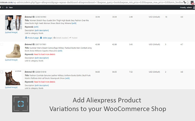 Extention for Aliexpress WooImporter plugin. Features: import products  variations and automatically order fulfillment.