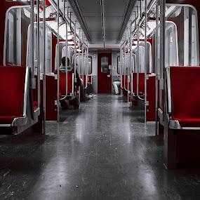 Subway  by Ralph Sobanski - Transportation Trains ( selective colour, subway, ttc, canada, toronto, metro, inside, train, seats, tic, ontario )