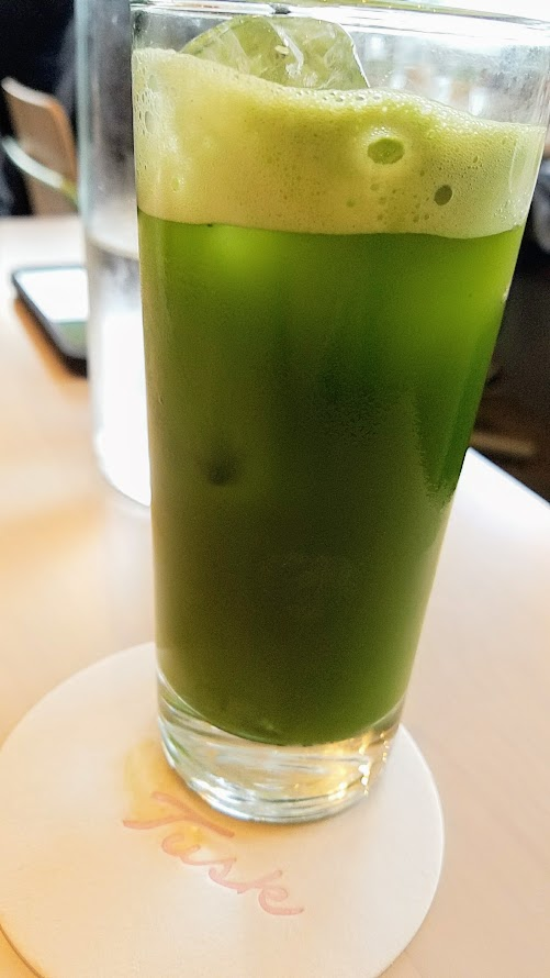 Brunch at Tusk in Portland, Non alcoholic beverage of Sparkling Iced Matcha (choice of mint or anise)
