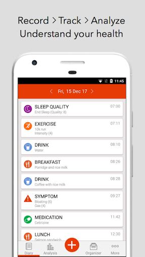 mySymptoms Food Diary & Symptom Tracker (Lite) screenshot for Android