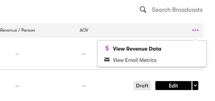 Switch to view email metrics