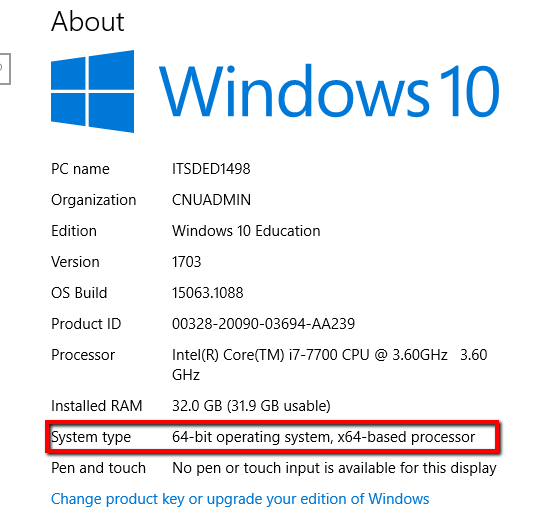 Windows 10 System Type