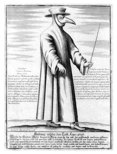 """Doctor during a later outbreak of the plague wearing a bird-shaped """"plague mask."""""""