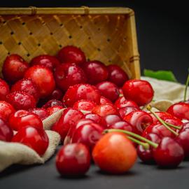 The cherries bunch by Marius Radu - Food & Drink Fruits & Vegetables ( red, cherry, springtime, fruit, dark, food,  )