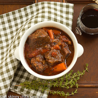 Slow Cooked Beef Stew with Red Wine, Carrots and Tomatoes