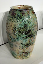"""Photo: """"A Pot a Day, 4/14/11"""" Previously fired ceramic pellets (left over from the Labor of Love project) are embedded in the surface of a porcelain clay body. Various oxides are applied to the surface and the pot is salt-fired."""
