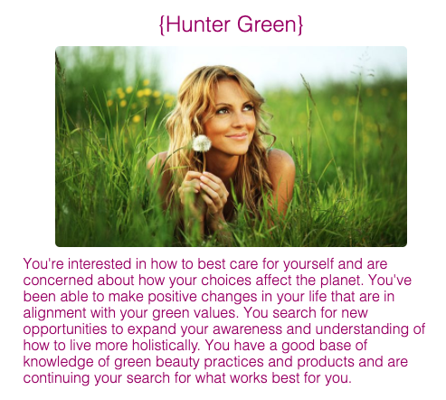 Hunter green quiz result with woman in a green field