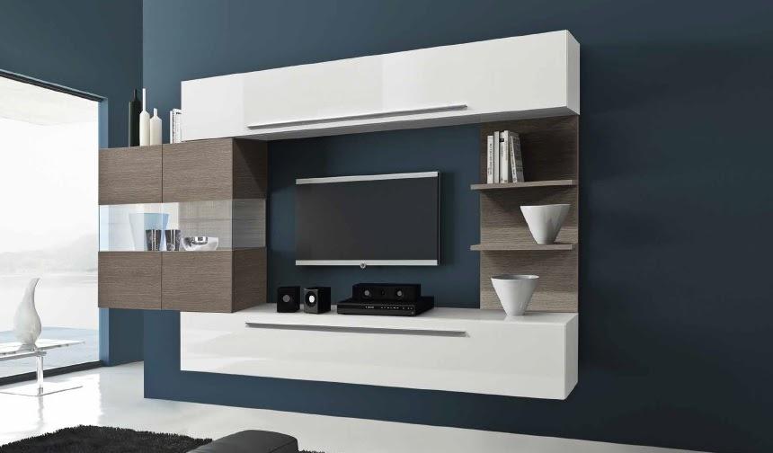 Parete moderna porta tv bali 12, soggiorno sospeso, mobile bianco ...