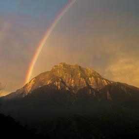 Rainbows by Lydelter  Bolodin  - Landscapes Mountains & Hills ( sky, cloud, hill, mountain, nature, golden hour, rainbows, peak, trees, landscape, canon )