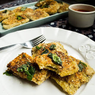 Vegan Toasted Ravioli w/ Cashew-Ricotta & Basil Filling.
