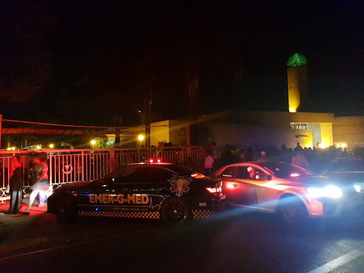 The scene outside a mosque in Mayfair, Johannesburg, where a shooting took place on the night of January 23 2019.
