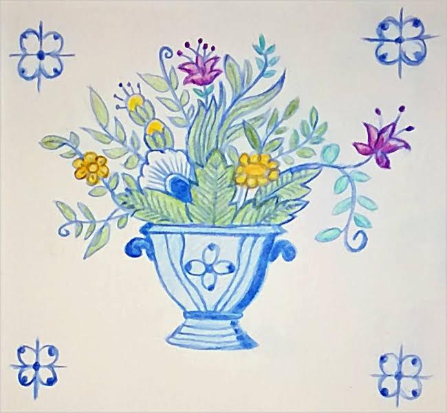 2019-02-12 Zeichenübung Nr. 21 Azulejos-Blumen (5_2) Bunstift auf Papier, mit PhotoScape 'aquarellisiert'