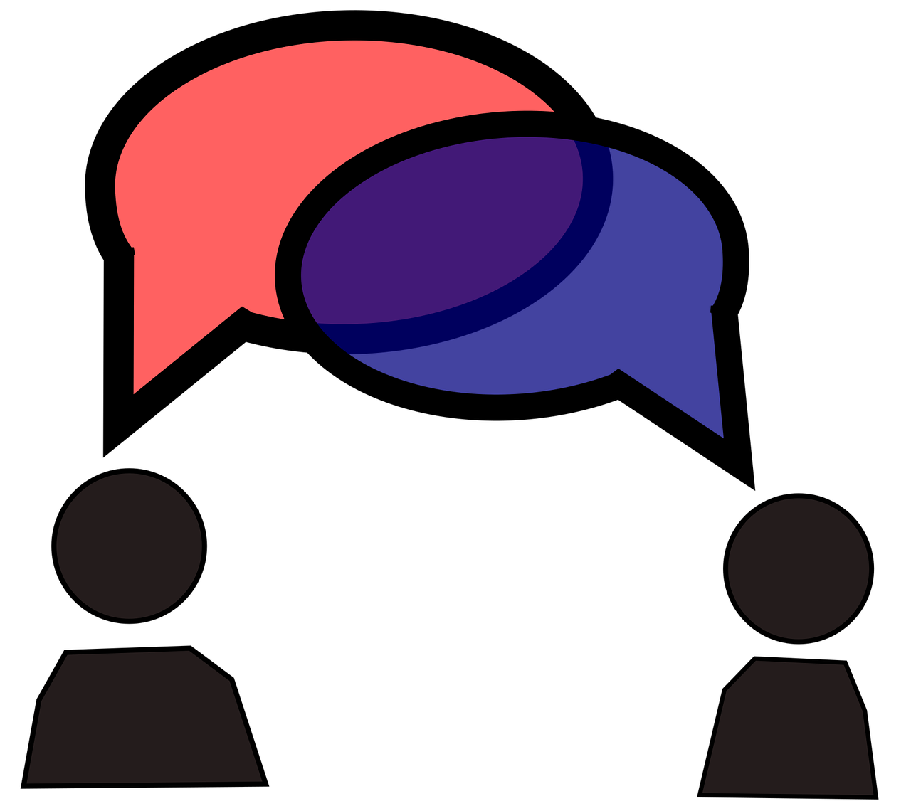 Two people talking with speech bubbles over their heads
