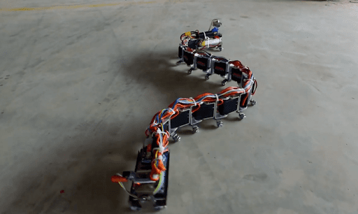 Robo-snake slithers across the ground under Arduino control