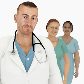 Male Doctor and Team of Nurses by Emily Fnm3d - Illustration People ( nurses, look real, not real, male, illustration, humans, team, human, doctor, rendering, render, realistic, 3d people, 3d, stethoscope, scrubs, doctors, hospital )