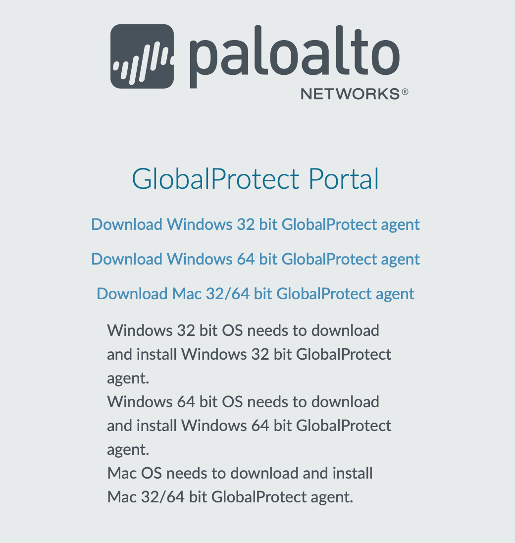 A view of the download links for GlobalProtect installation