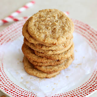 Easy 5-Ingredient Chewy Cashew Butter Toffee Cookies.