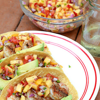 Grilled Shrimp Tacos with Fresh Peach Salsa