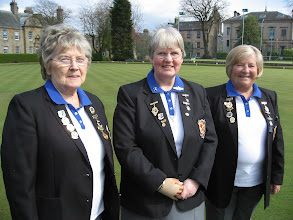 Photo: Lady Vice Captain - Eileen Straine,  Lady Captain - Rosemary McWilliam,  Lady Match Secretary - Senga Currie.