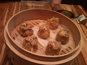 Photo: Shu mai with gold leaf for Christmas dinner at China Poblano, Las Vegas.