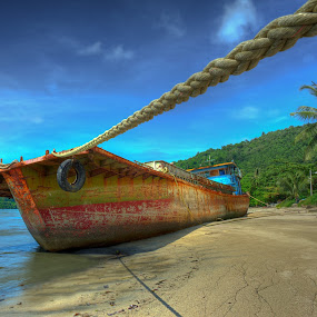 waiting for the tide by Izham Khalid - Landscapes Waterscapes ( berth, beached, ship, penang, jetty )