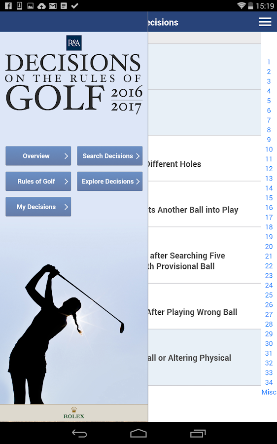 Decisions on the Rules of Golf- screenshot