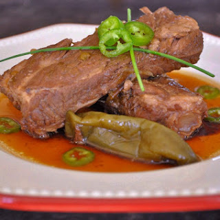 Spicy soy braised pork ribs (돼지갈비 조림 Dweji Kalbi Jorim)