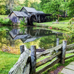 Mabry Mill by RomanDA Photography - Buildings & Architecture Public & Historical ( water, reflection, wood, parkway, june, grass, 2015, morning, ridge, mill, fence, mabry, mountains, blue, summer, trees, pond )