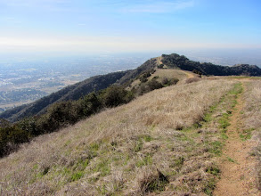 Photo: View back west toward Azusa Peak. Normally this time of year the green grass on these slopes would be abundant from winter rain. Not so this year.