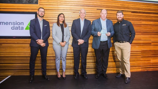 Dimension Data receiving award for top Axis Gold Partner for 2018.