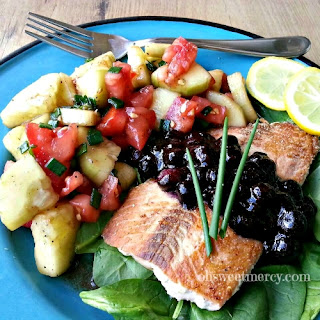 Salmon with Blueberry Sauce.