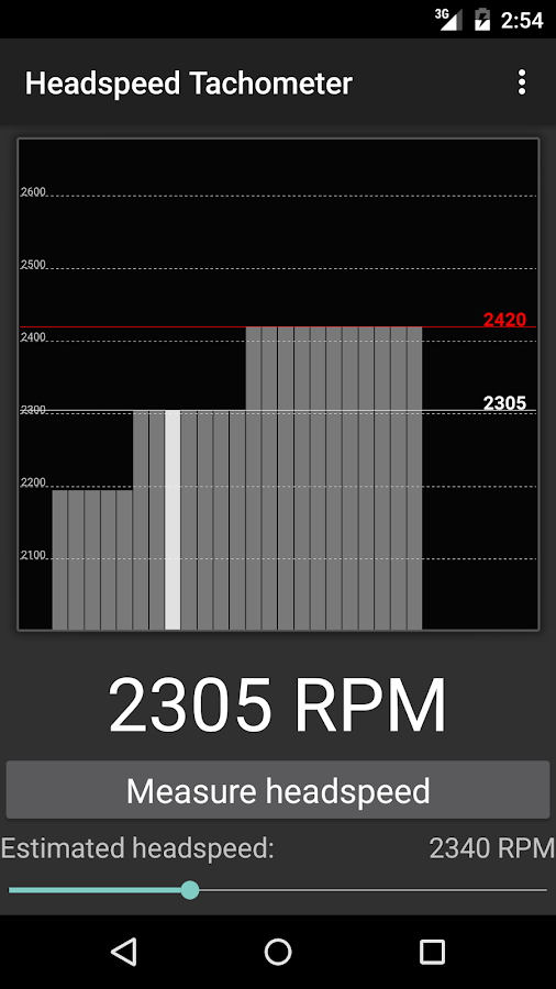 Headspeed Tachometer - screenshot