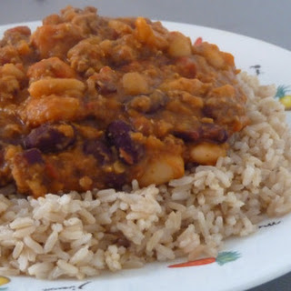 Hearty Turkey And Red Lentil Chili With Mixed Beans.