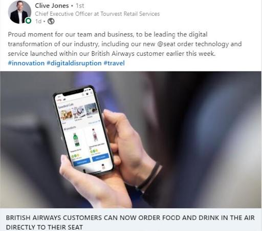 Tourvest Retail Services adds '@seat order' technology to British Airways inflight platform