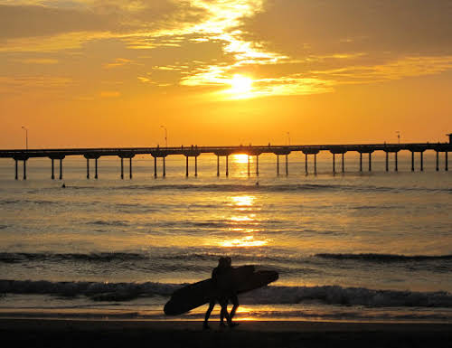 Top Outdoor Activities in Southern California // Huntington Pier Surfers at Sunset Los Angeles Banner