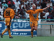 Marc Batchelor celebrating a goal against Orlando Pirates at FNB Stadium during Rothmans Cup final.