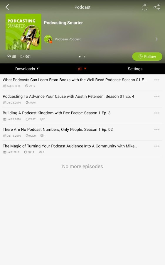 Podbean Podcast App- screenshot