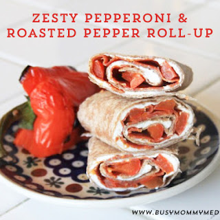 Zesty Pepperoni and Roasted Pepper Roll-Up.