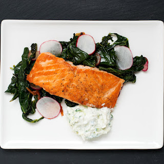 Pan Roasted Salmon with Collard Greens & Radish Raita