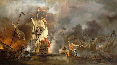 """Photo: Μπασάνο: ο Κουρσάρος """"An English Ship in Action with Barbary Vessels"""" -Willem van de Velde II"""