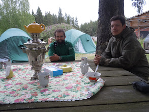 Photo: Matt and Nick with the samovar at the field station