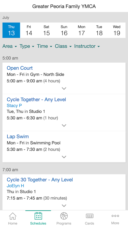 Greater Peoria Family YMCA- screenshot
