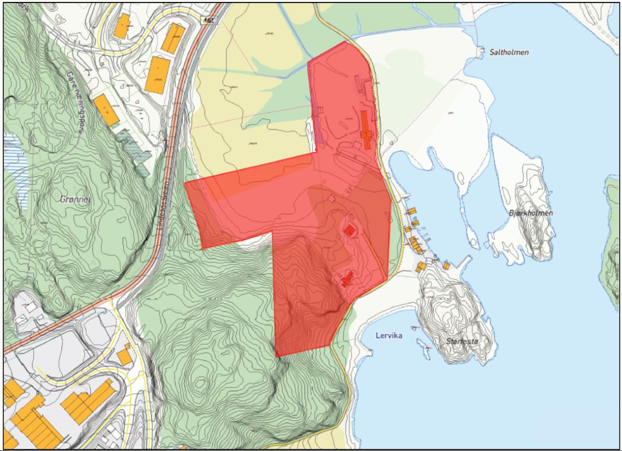 Kart over område for regulering, Pershaven, Lindesnes