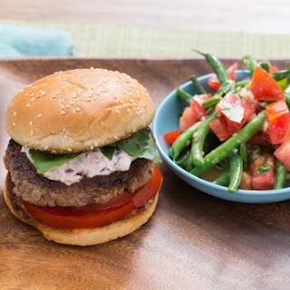 Tomato-Basil Burgers with Olive Aioli & Green Bean-Tomato Salad Recipe