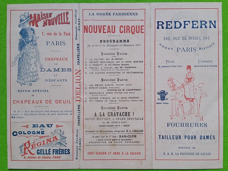 Zirkusprogramm - Nouveau Cirque d'hiver - 14. Dezember 1890 - Paris