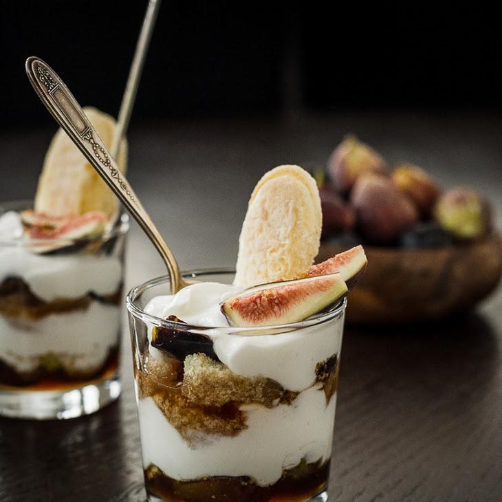 Honeyed Fig Trifle with Goat Cheese Mascarpone Yogurt Cream Recipe