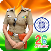 Republic Day Women Police Suit Photo Editor
