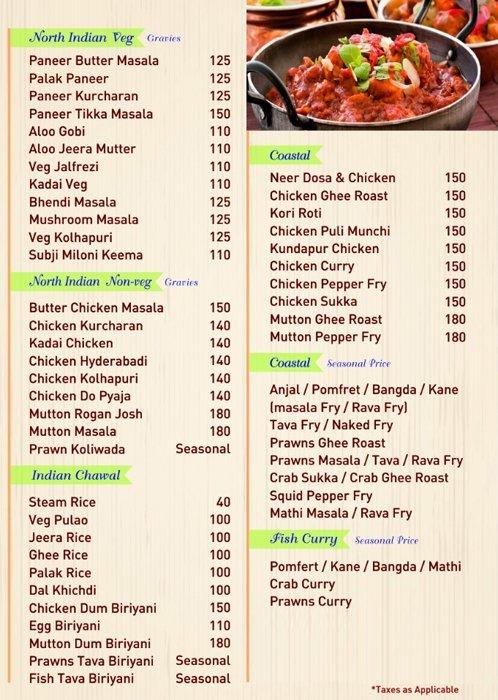 Coastal Curry menu 2