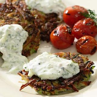 Zucchini-Potato Latkes with Tzatziki