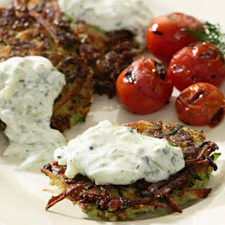 Zucchini-Potato Latkes with Tzatziki.